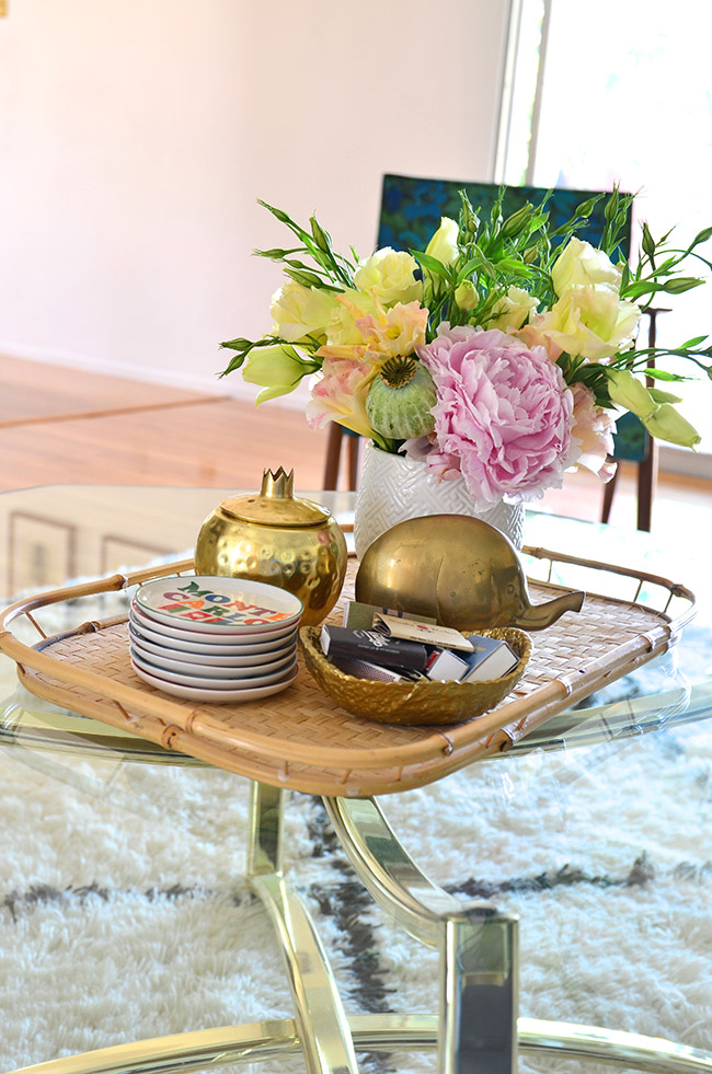 how to style a vintage tray