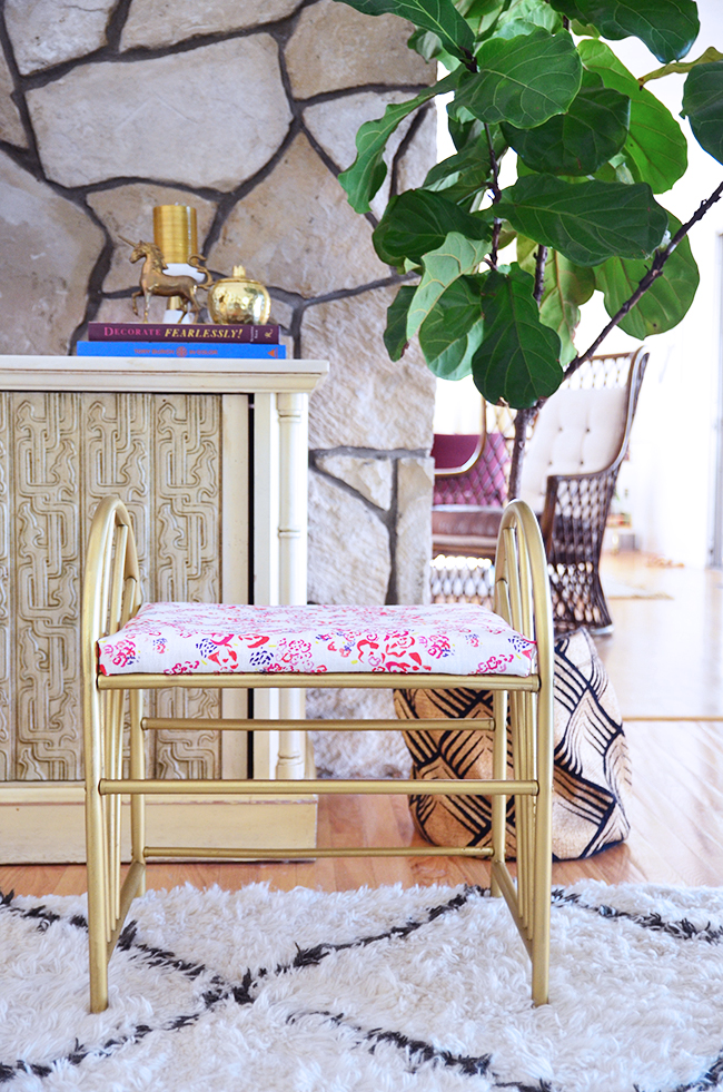 how to diy vintage brass stool