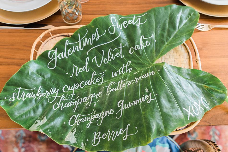 monstera leaf calligraphy