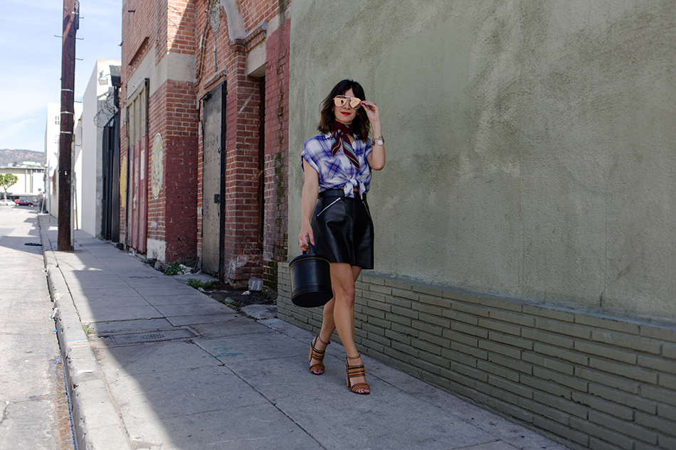 how to style a leather skirt for spring