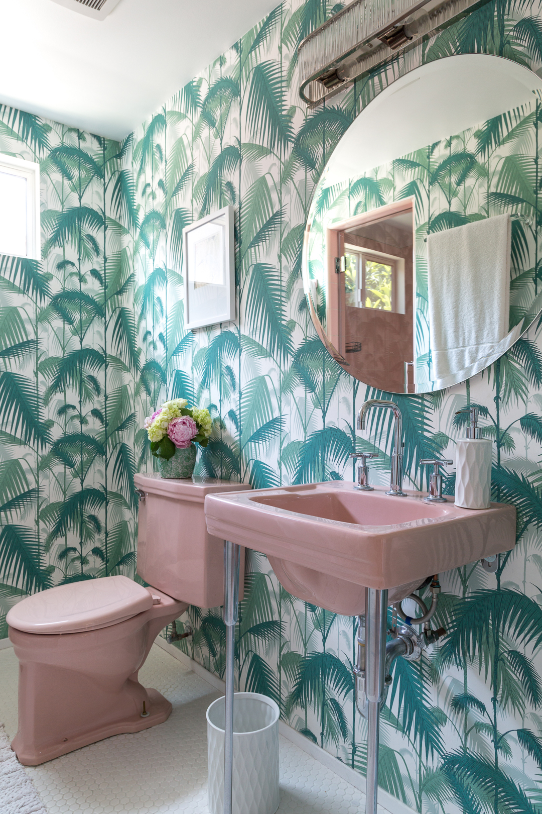 A Golden Girls Inspired Bathroom Palm Print And Vintage Pink Bathroom