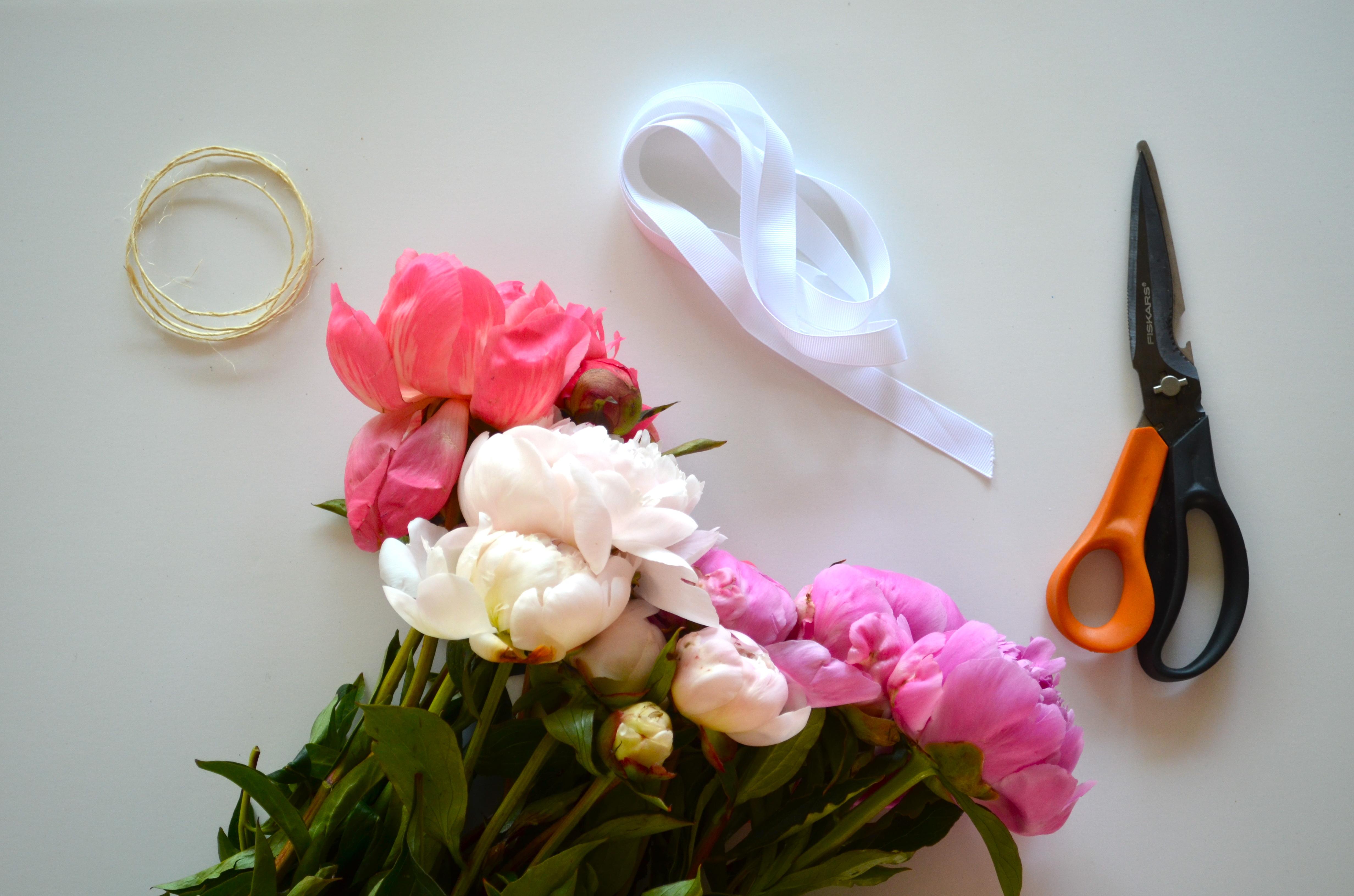 diy peony bouquet steps
