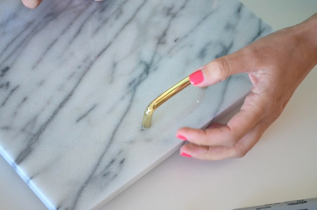 DIY marble & brass tray step 4