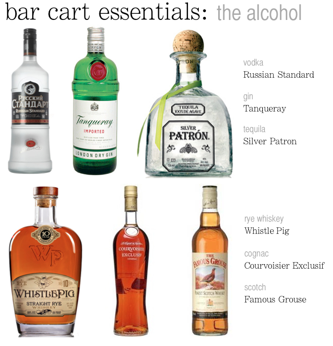 bar cart essentials liquor