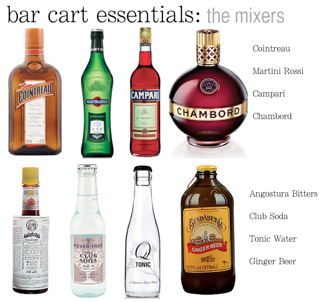 bar cart essentials mixers