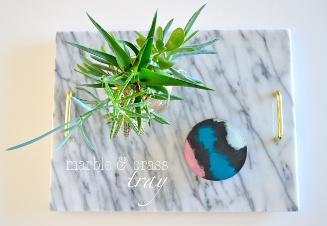 diy marble & brass tray