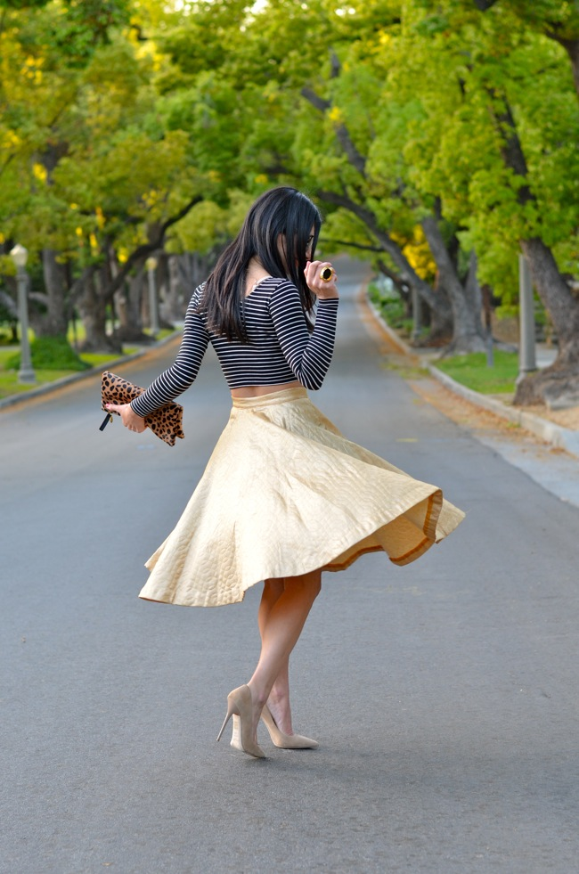 gold skirt twirl