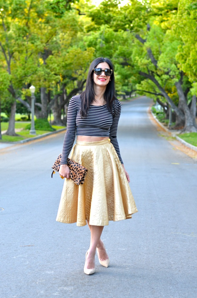 gold vintage skirt crop top