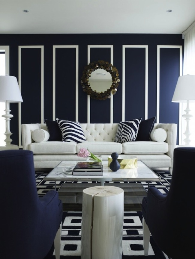 contemporary blue living room