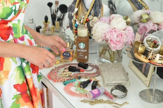 jewelry peonies vanity