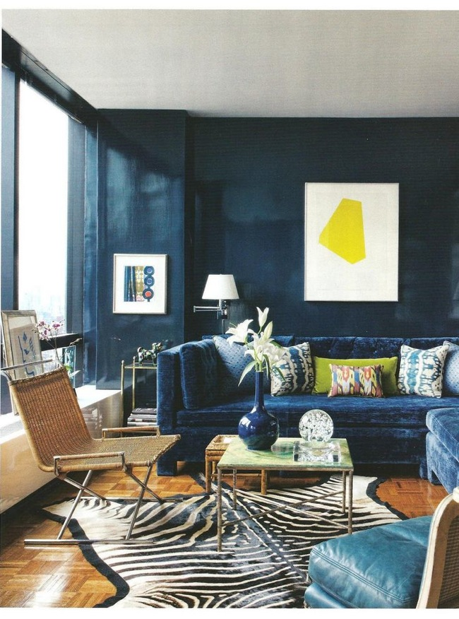 monochrome navy living room