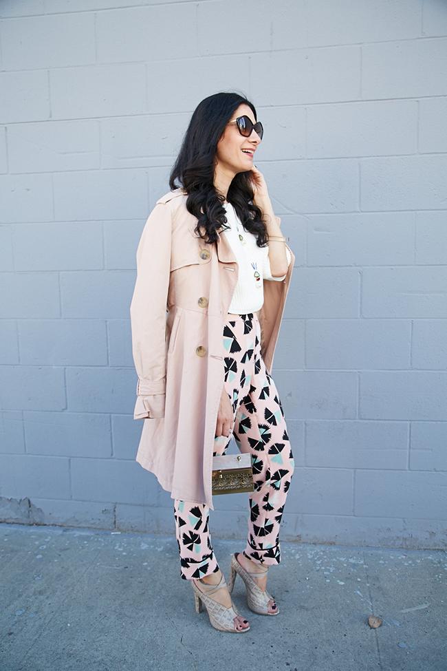 blush trench coat