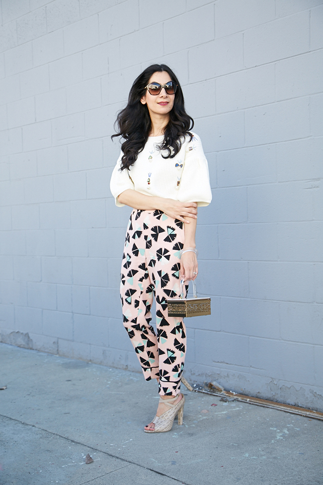 crop top and silk pants