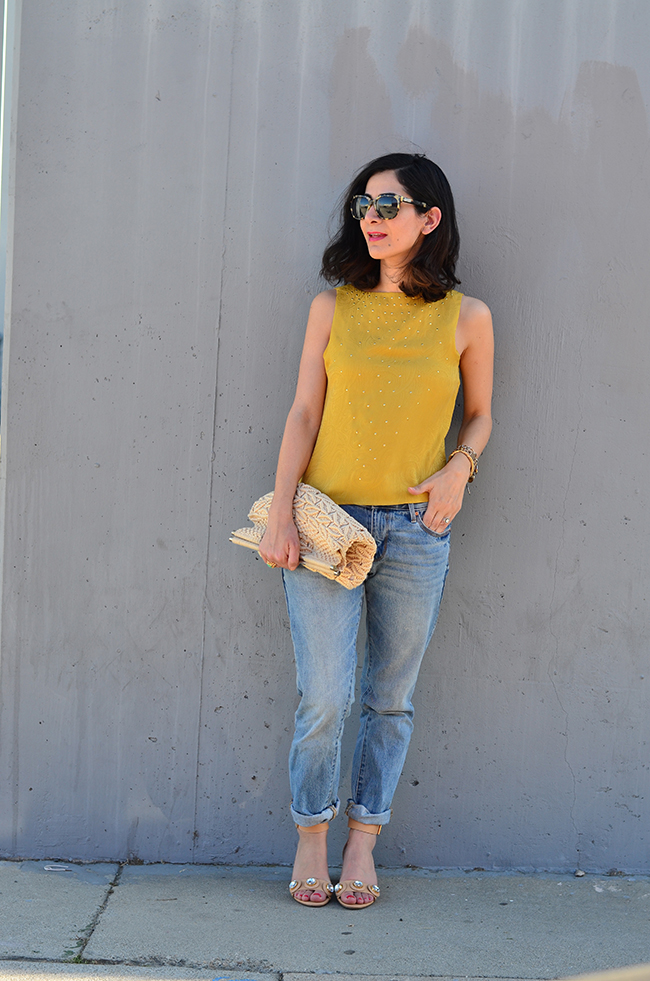 vintage silk top and jeans