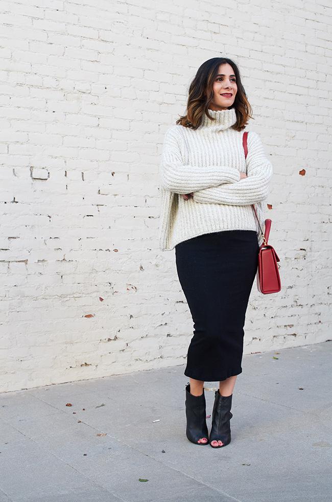 chunky sweater midi skirt