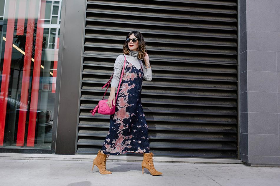 turtleneck and slip dress