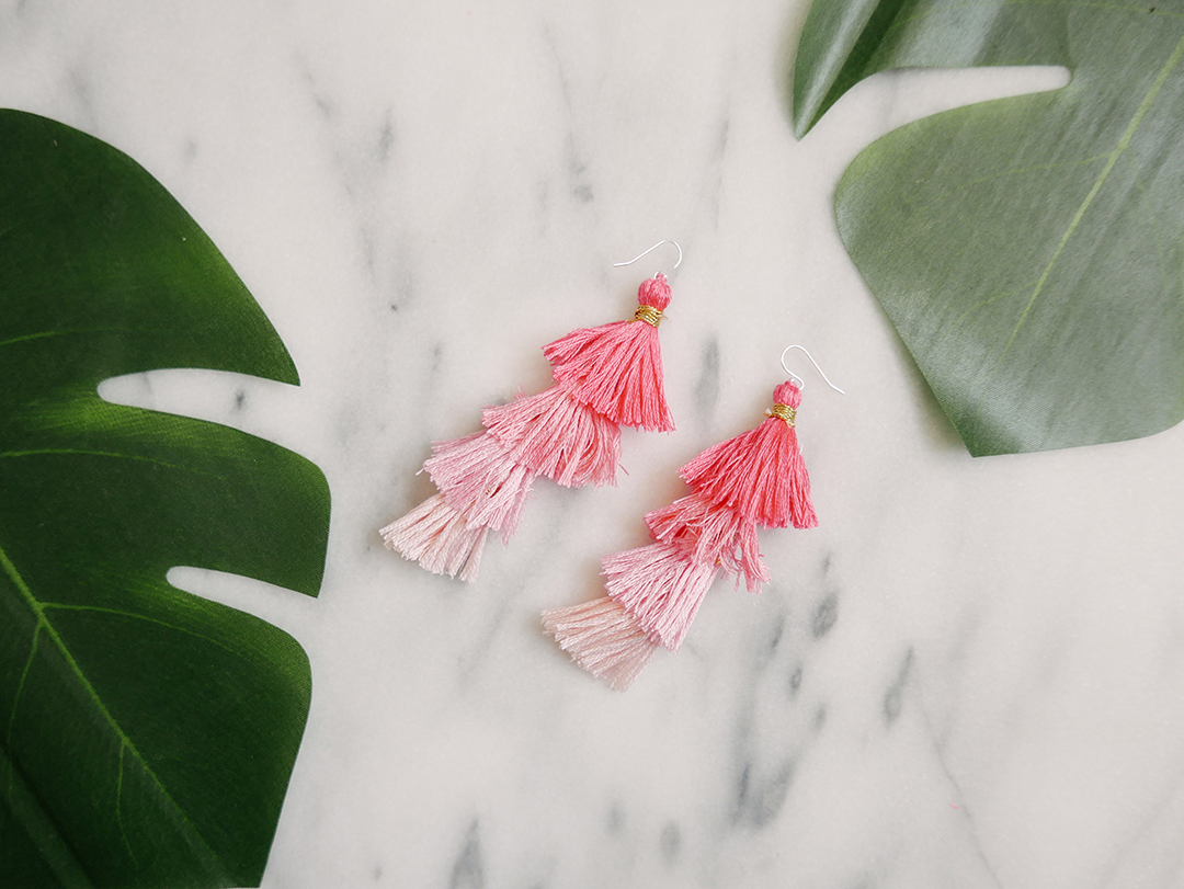 how to DIY ombre tassel earrings