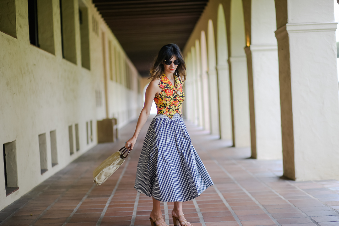 how to style a gingham skirt outfit ideas
