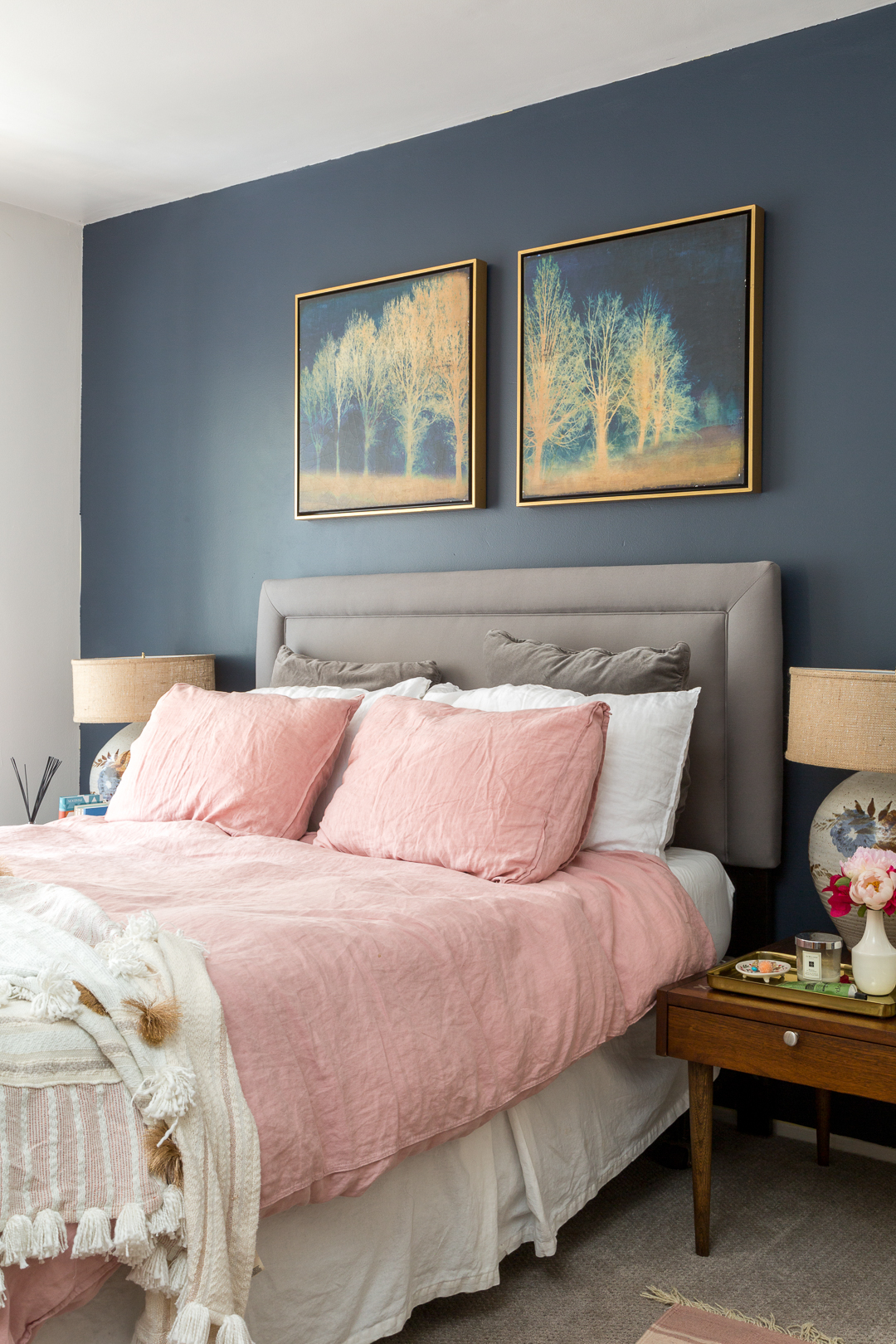 how to decorate a bedroom with pink walls boho chic navy and pink bedroom a vintage splendor at home 21248
