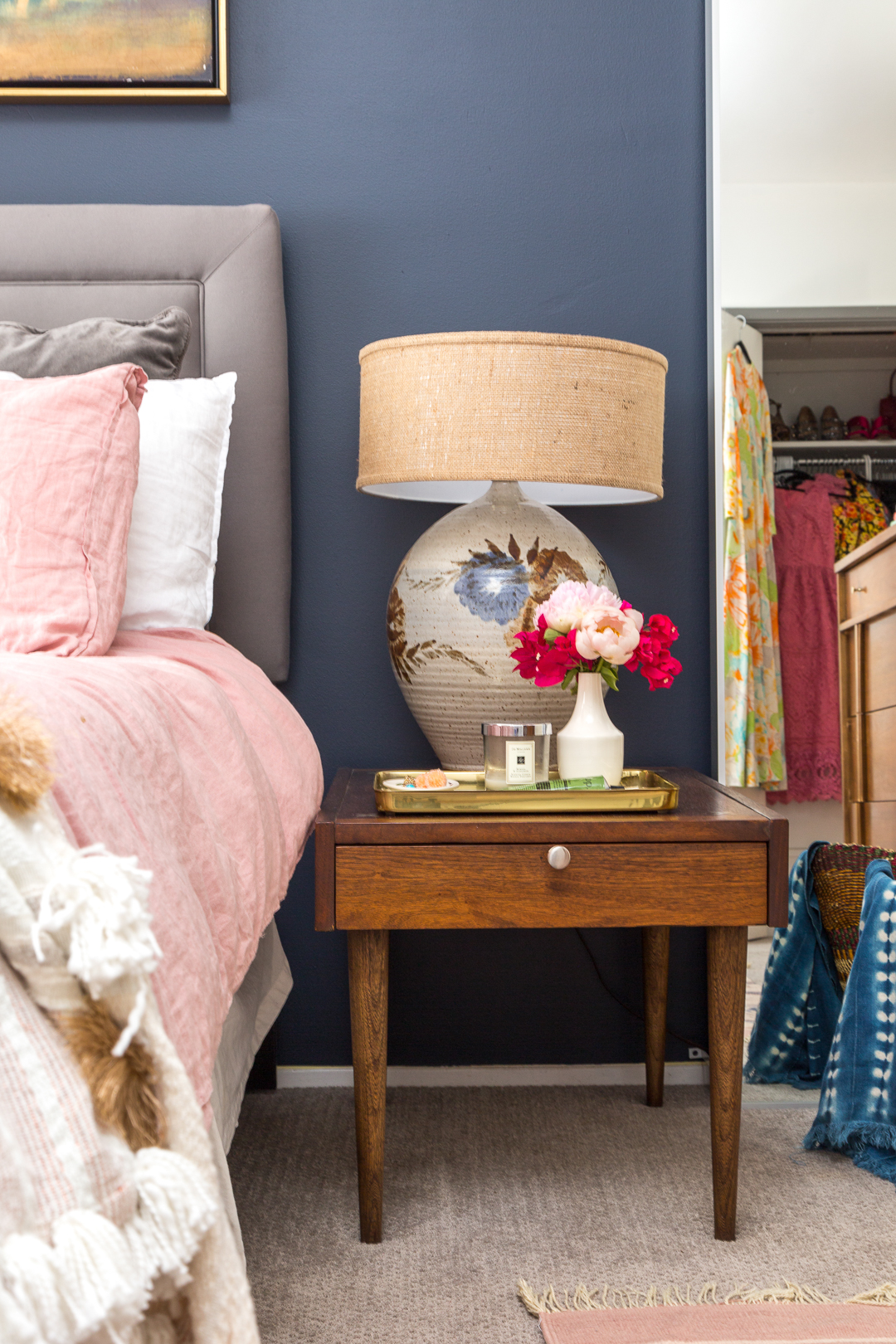 Boho Chic Navy And Pink Bedroom
