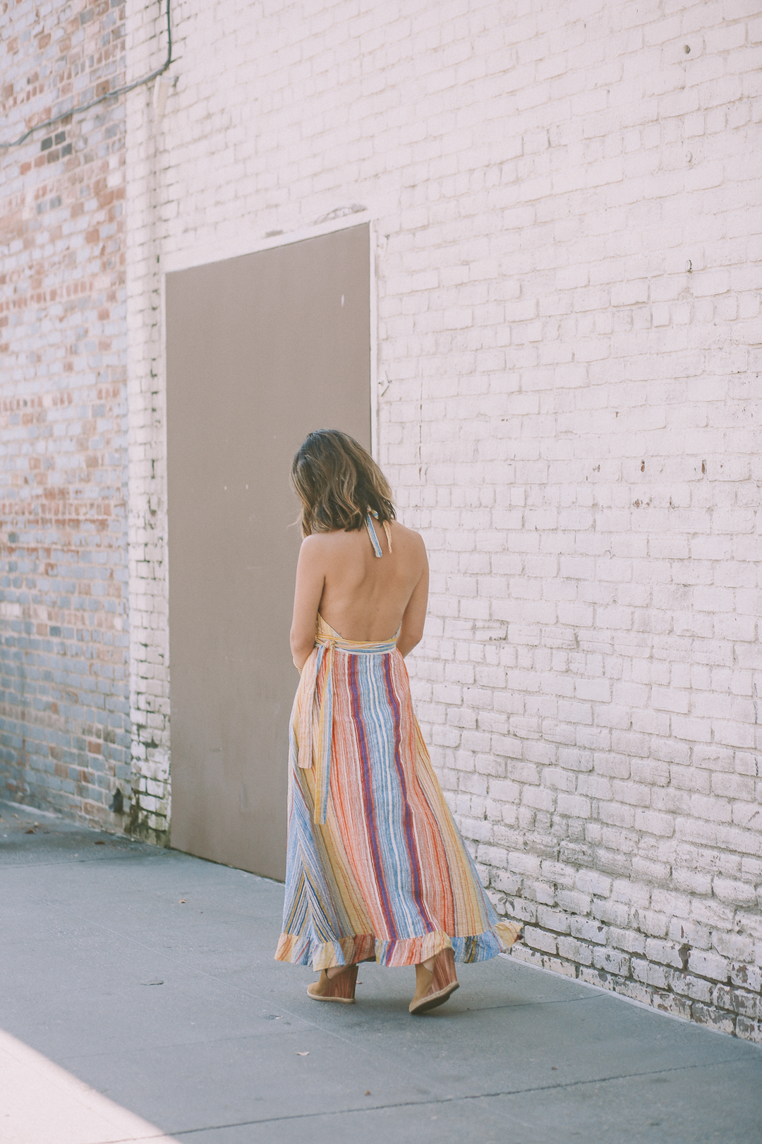 a vintage splendor wears a vintage maxi dress
