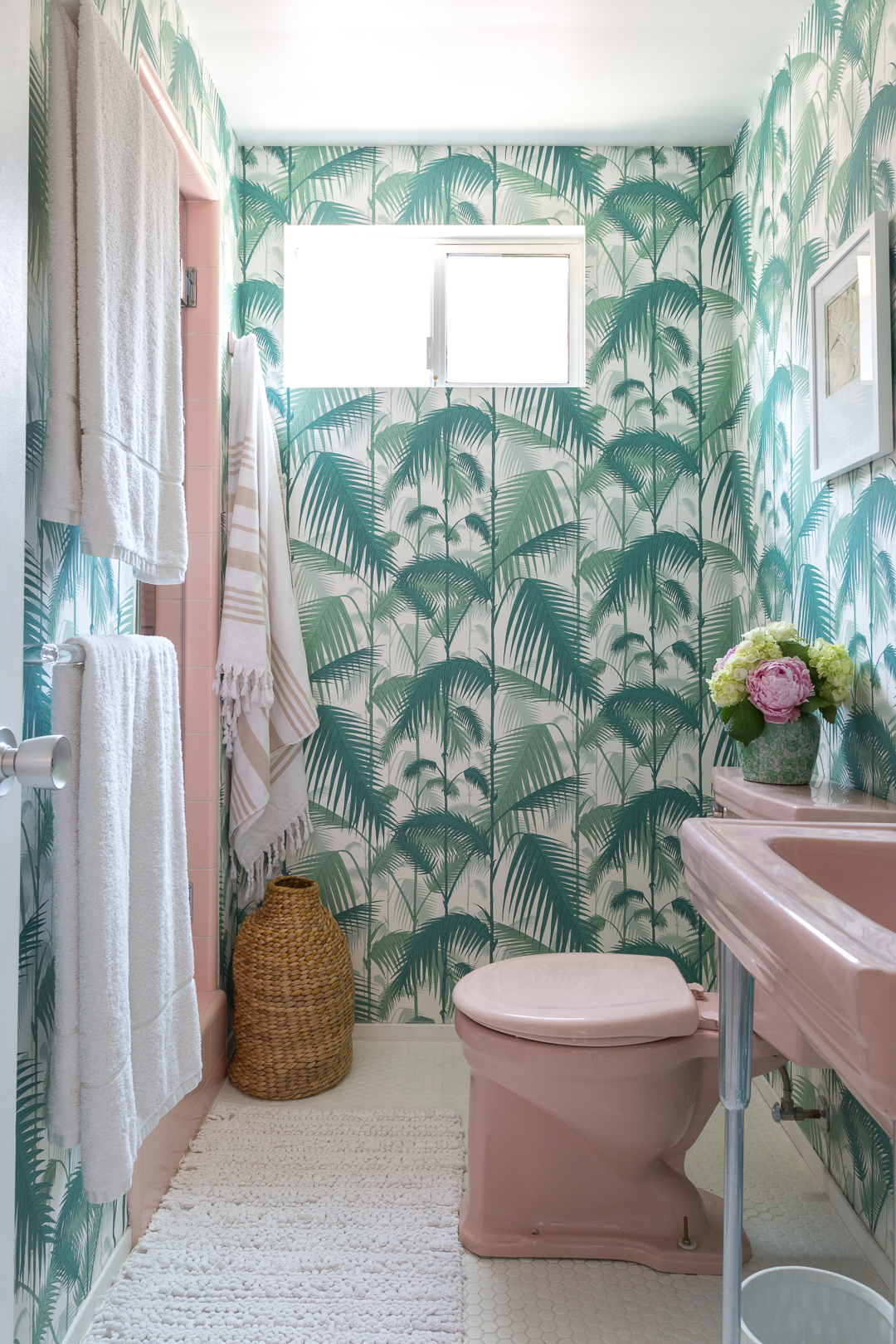A Golden Girls Inspired Bathroom Palm Leaf Wallpaper And Pink