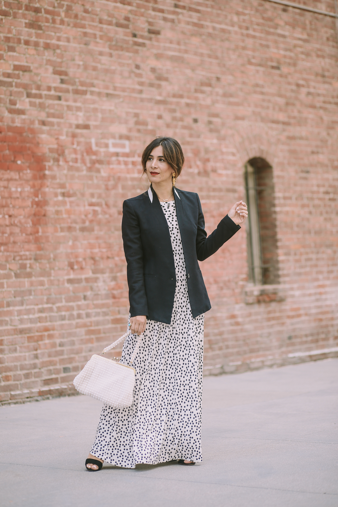 how to style a blazer and maxi dress outfit ideas