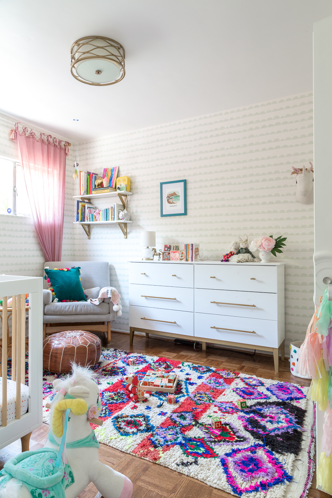 colorful bohemian nursery and kids room