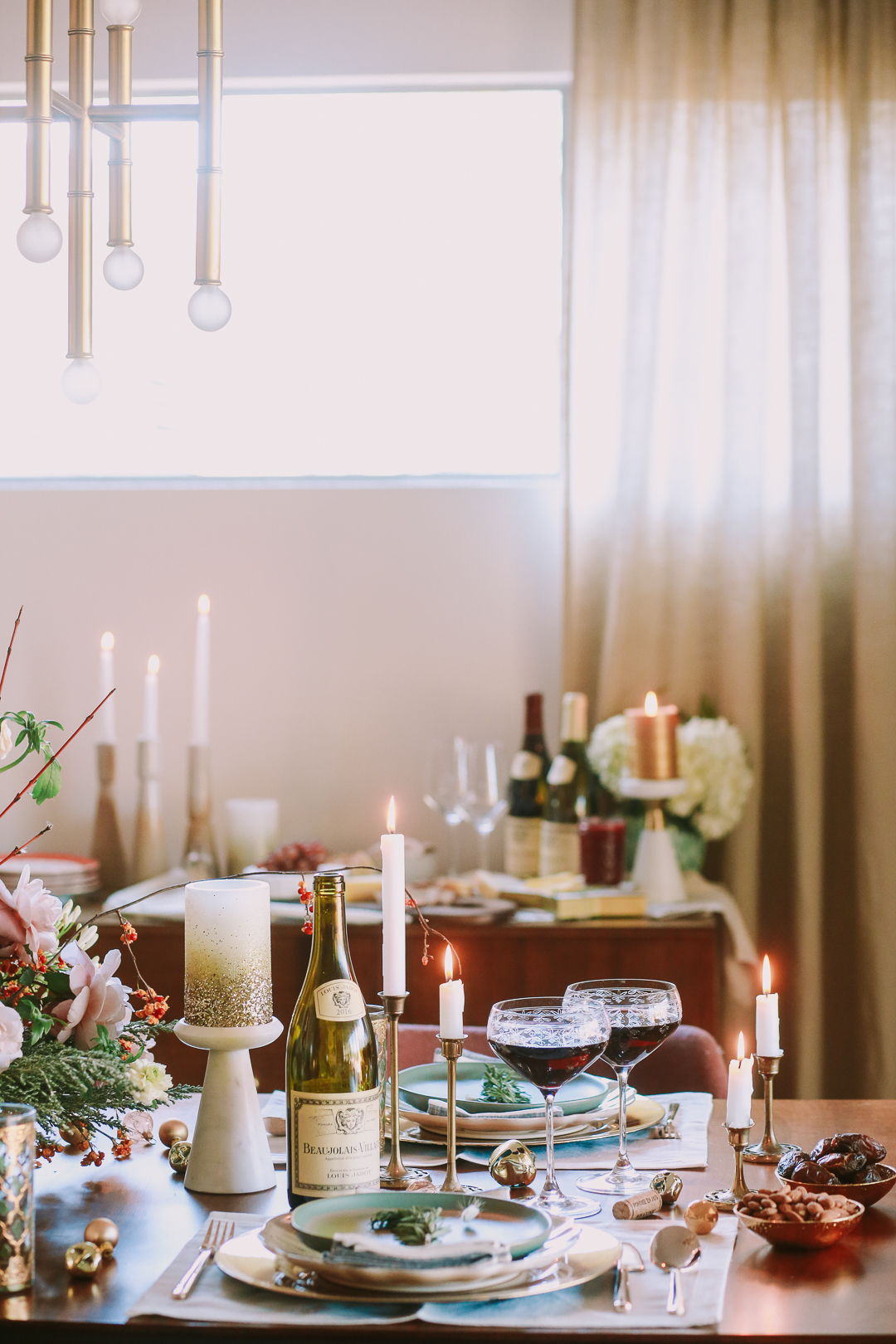 pink holiday tablescape