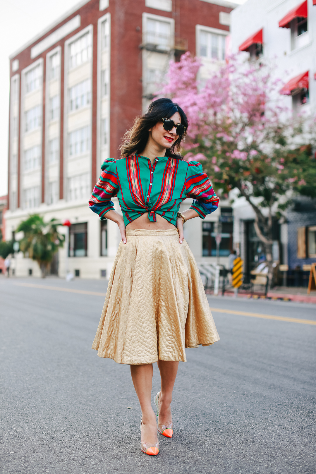 how to stop traffic in a killer gold skirt