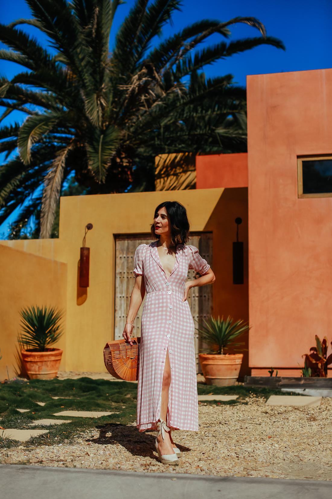 a vintage splendor wears reformation gingham maxi dress