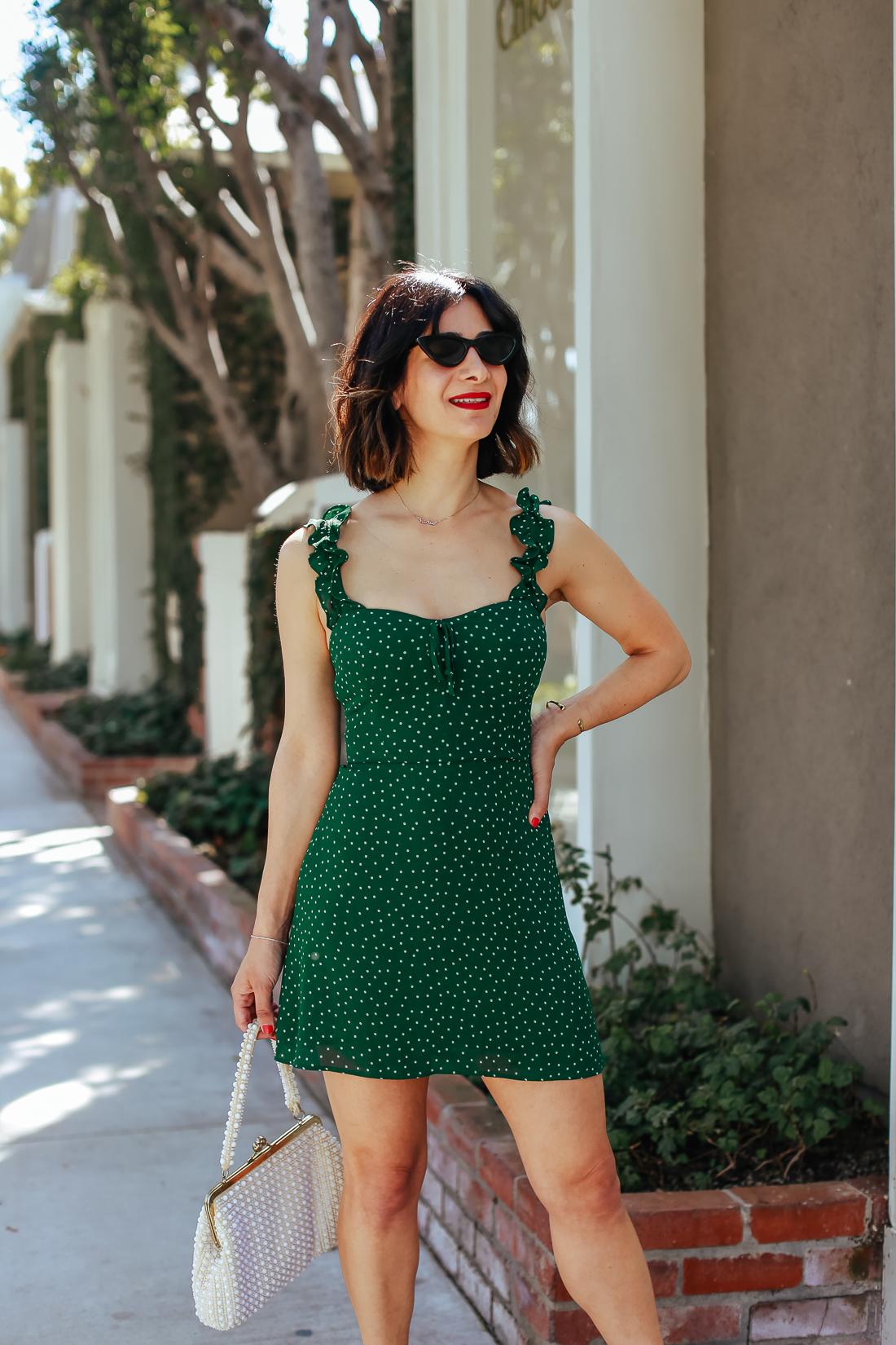 Green Mini Dress Reformation Polka Dot Dress Perfect For
