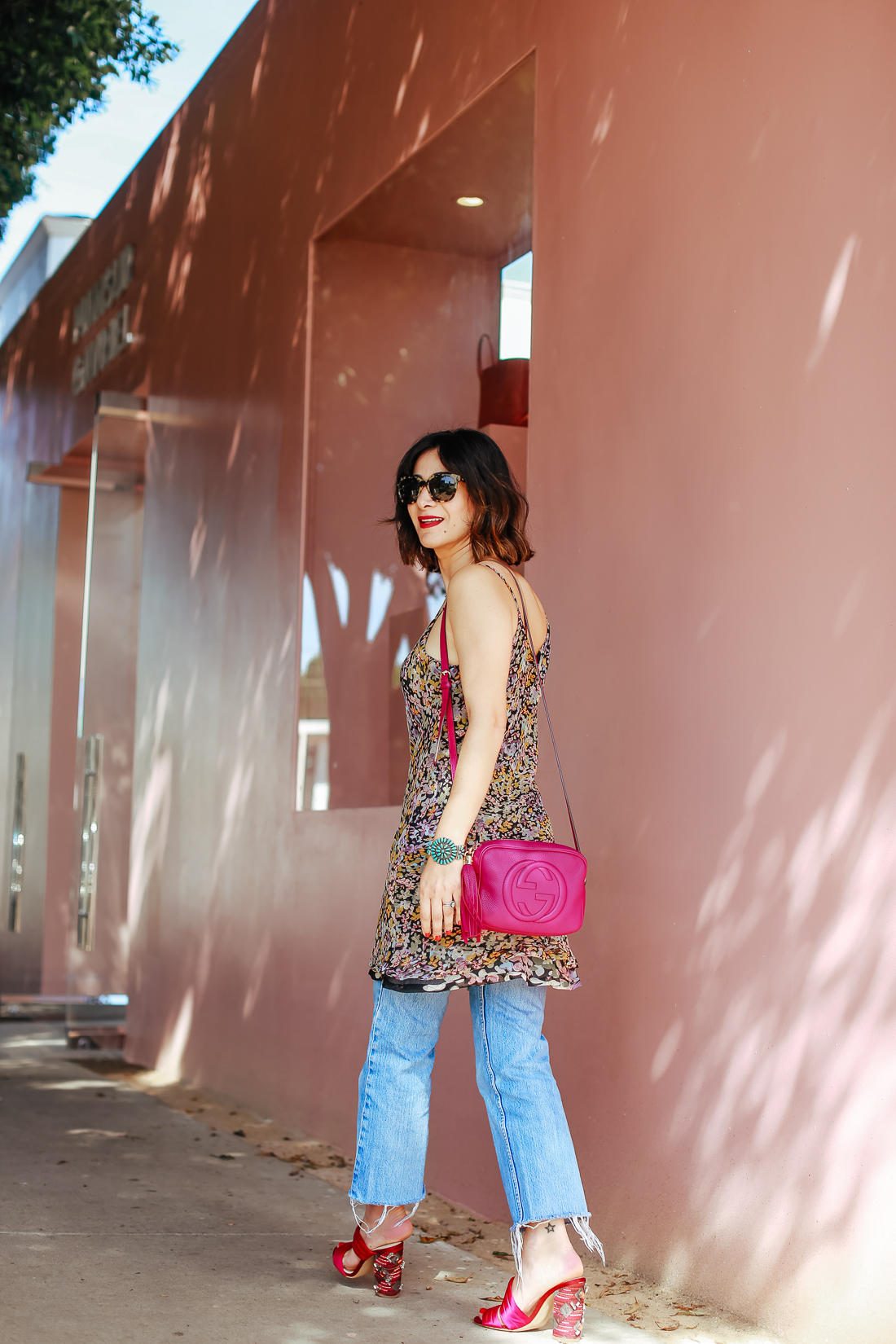 how to wear a silk dress over jeans outfit ideas
