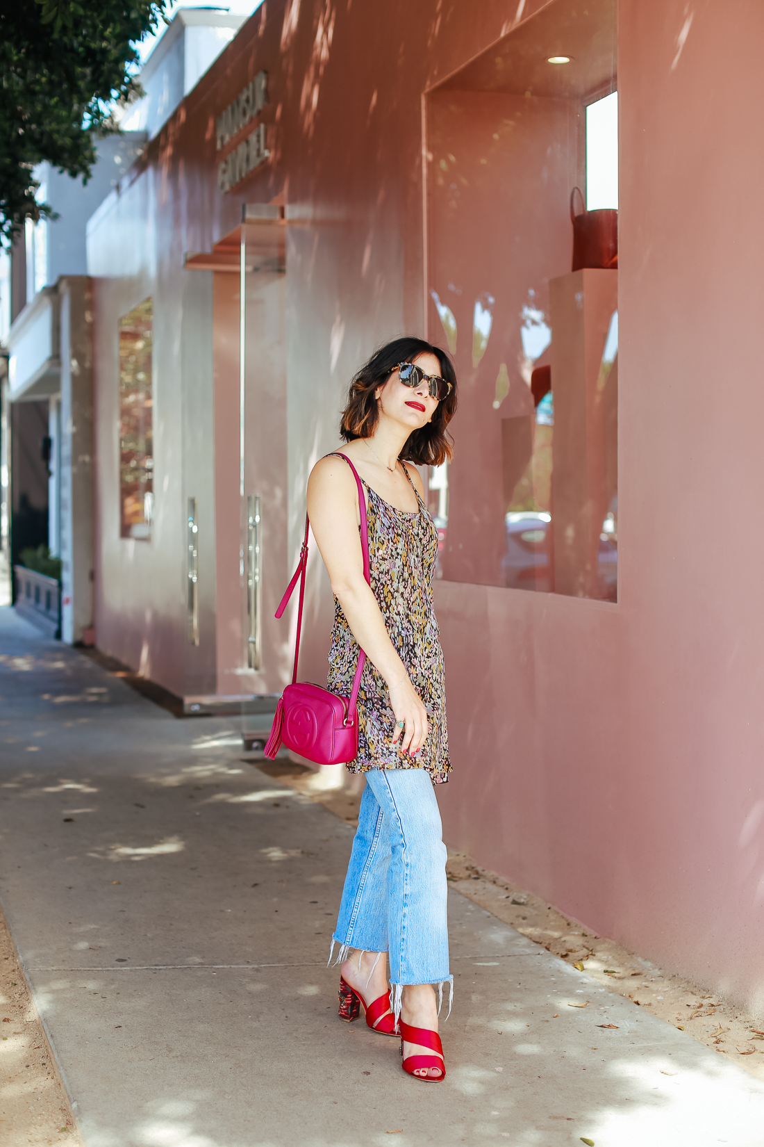 how to wear a silk dress over jeans