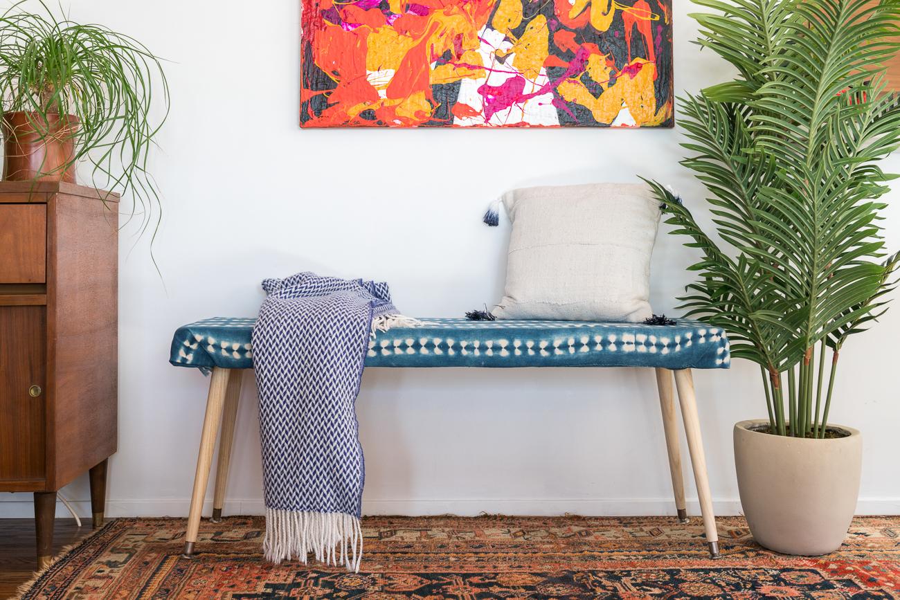 DIY indigo bench