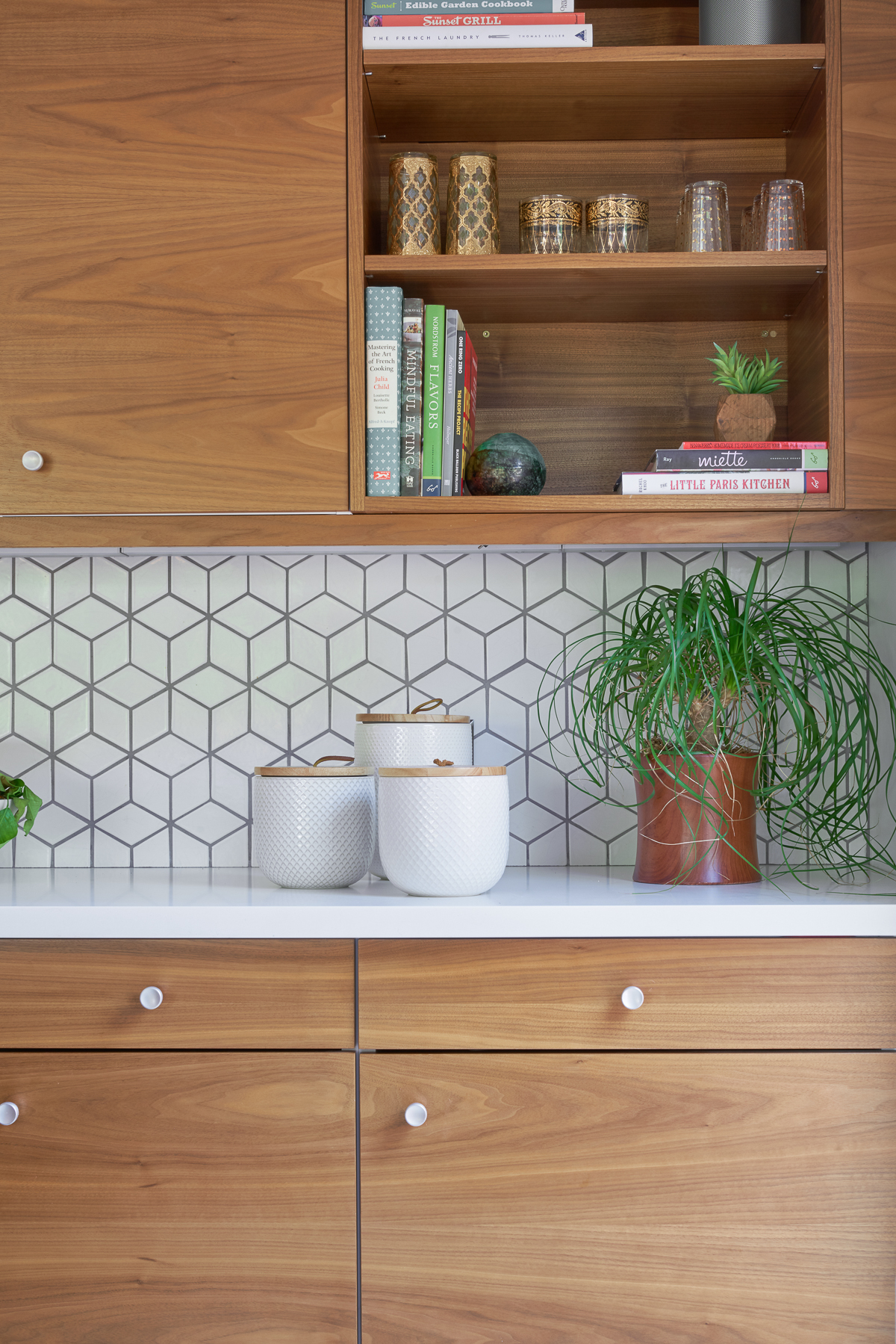 Kitchen Finishes Fireclay Tile Backsplash Semihandmade Cabinet Fronts Quartzstone Counter And Terrazzo Like Floor Ikea Box