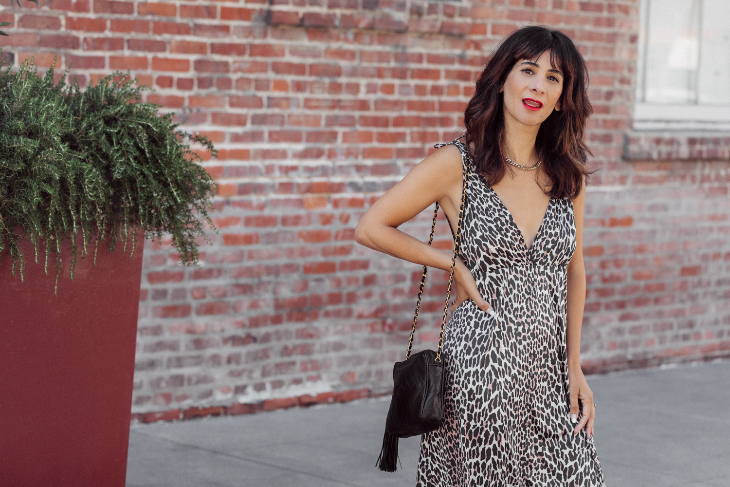 thrifted leopard slip dress