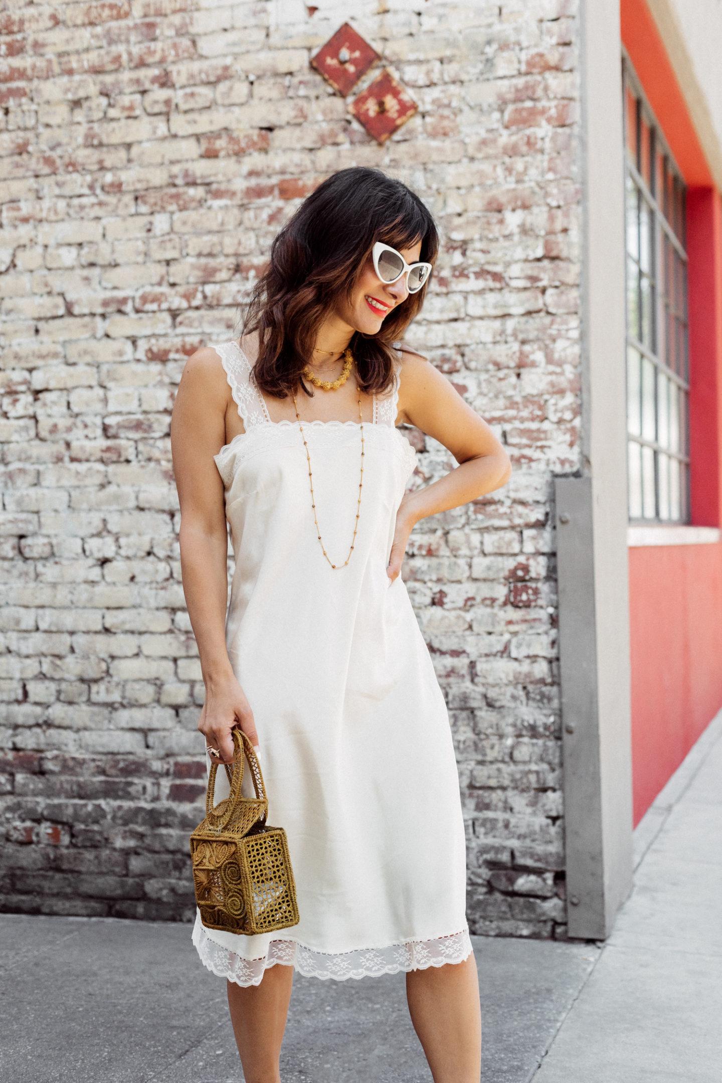 vintage silk slip dress outfit ideas