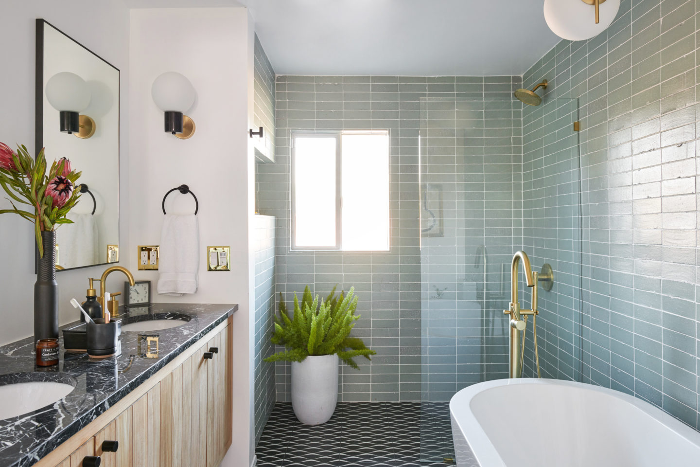 mid century modern glam master bathroom