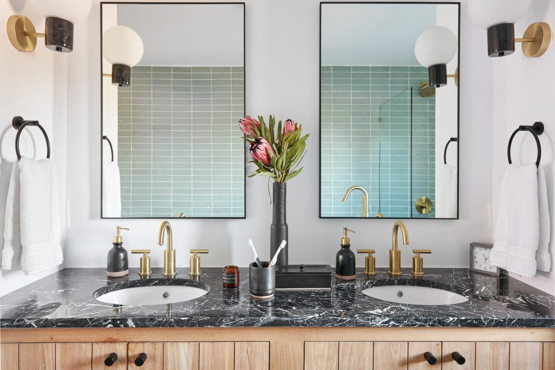 black marble bathroom vanity