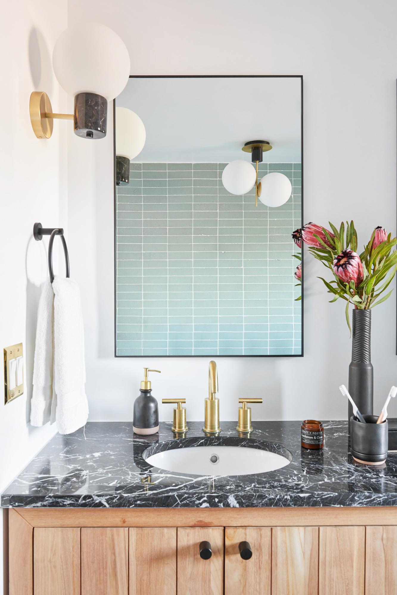 black marble vanity bathroom