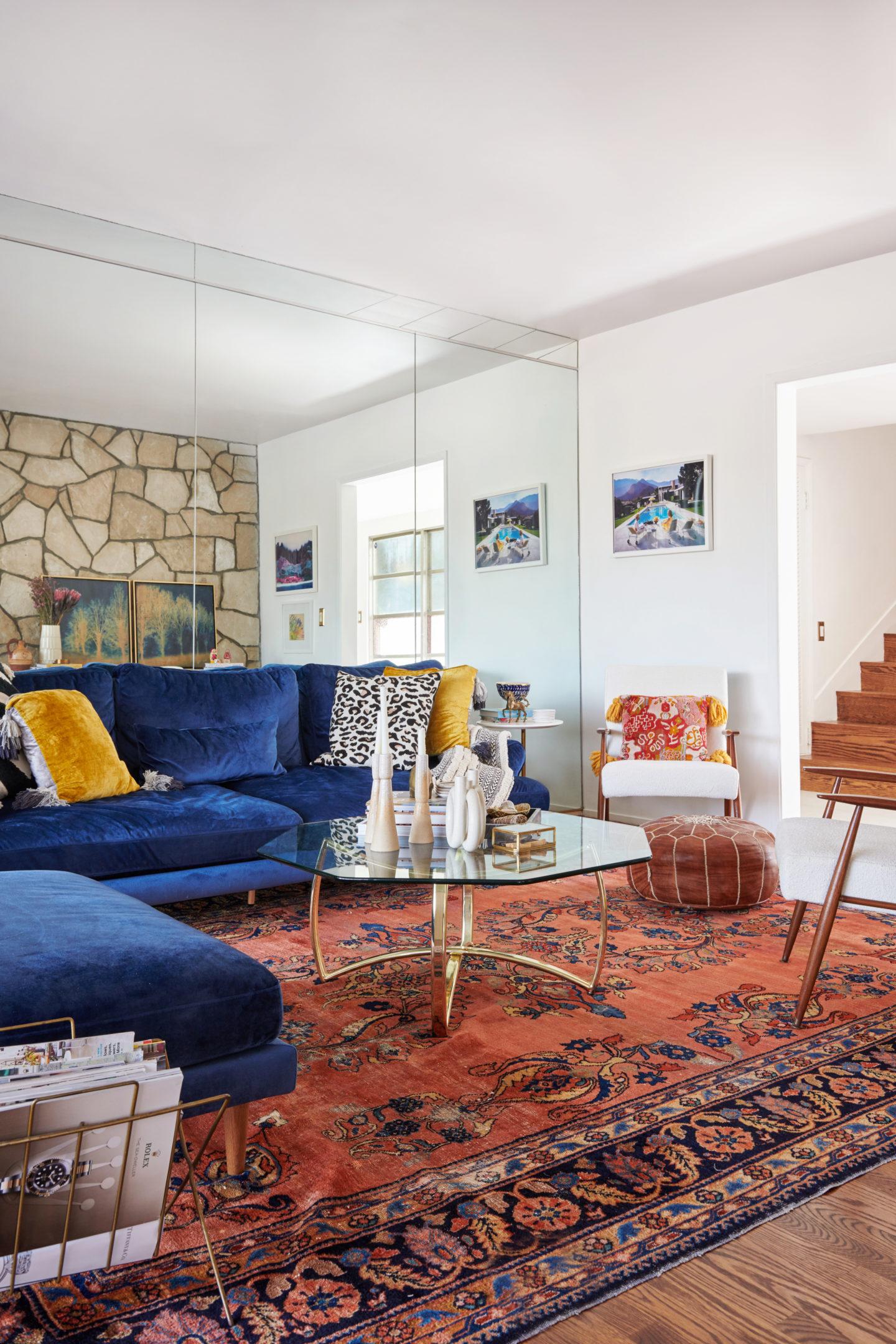 mid century modern bohemian living room