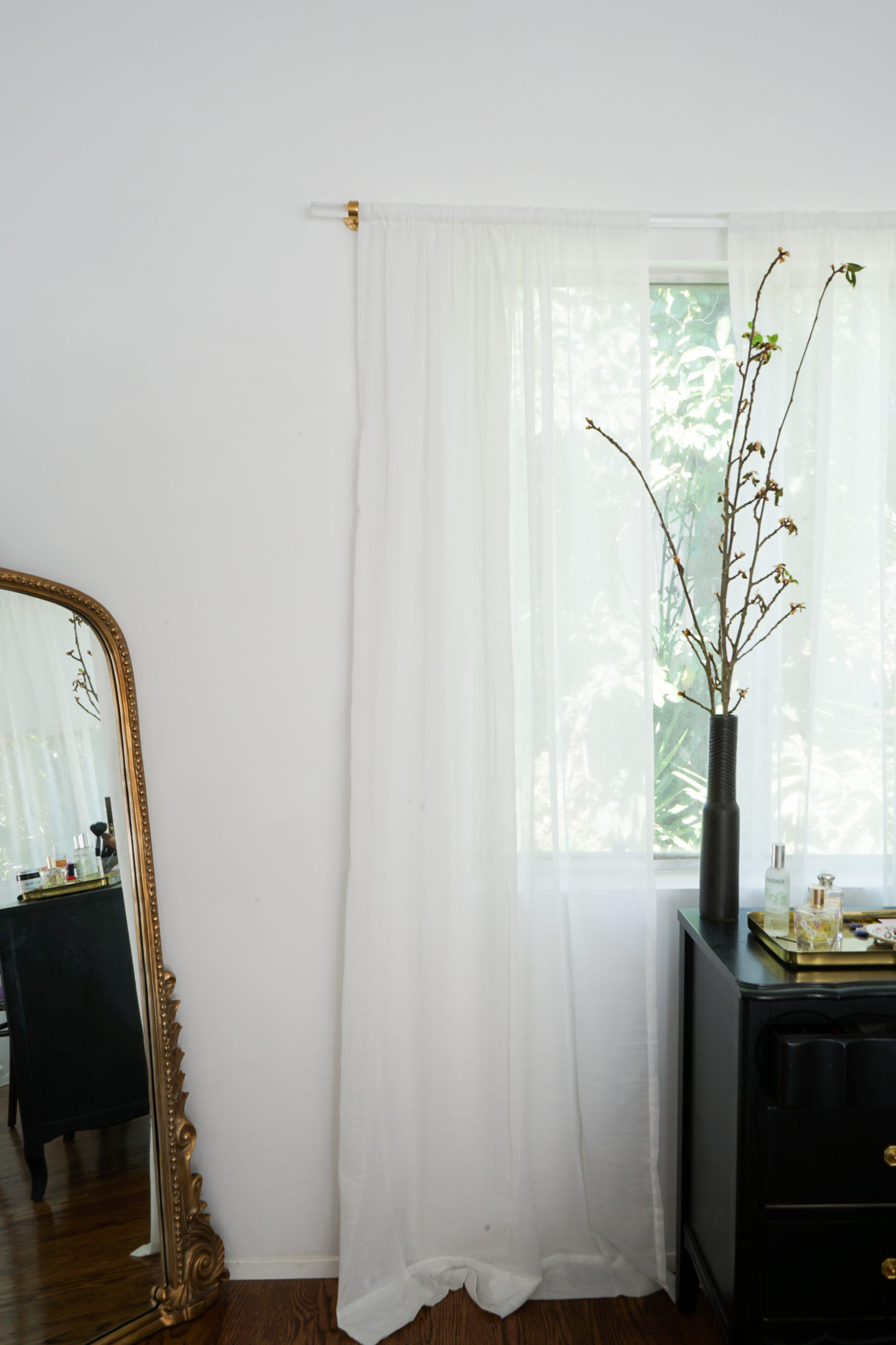 diy brass and lucite curtain rod